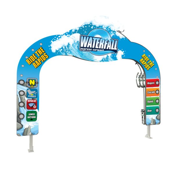 Wave Header LIT Car Wash Arch